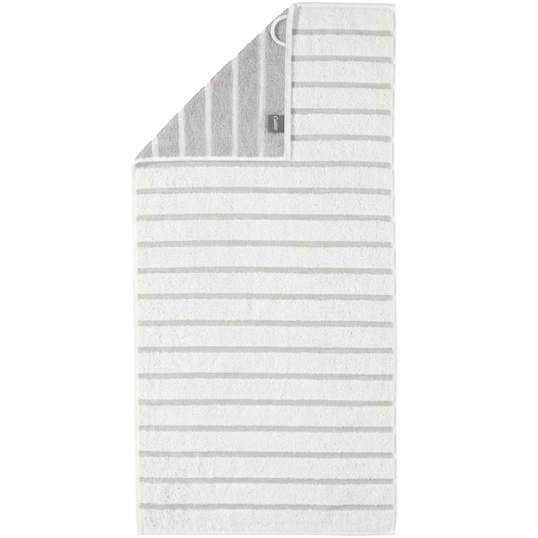 Cawö håndkle, lys grå striper