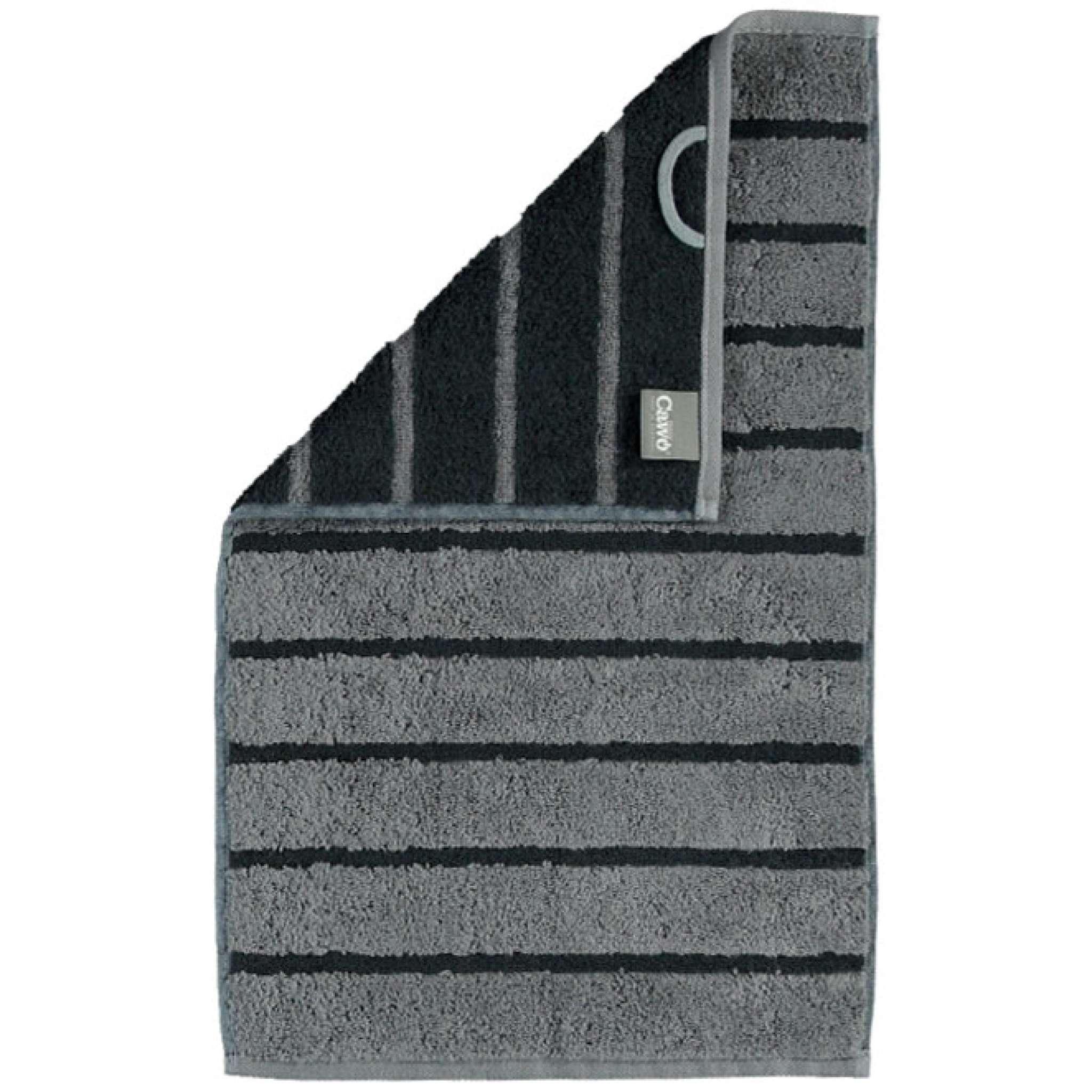 Cawö håndhåndkle, mørk grå striper