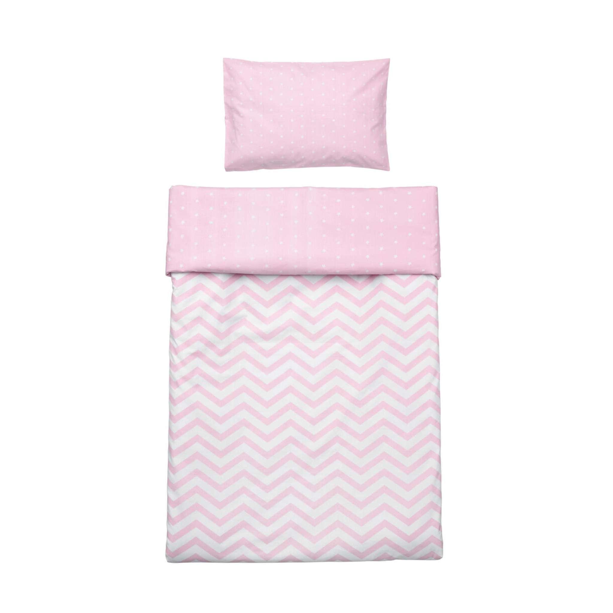 Bäddset spjälsäng rosa 100x130 cm