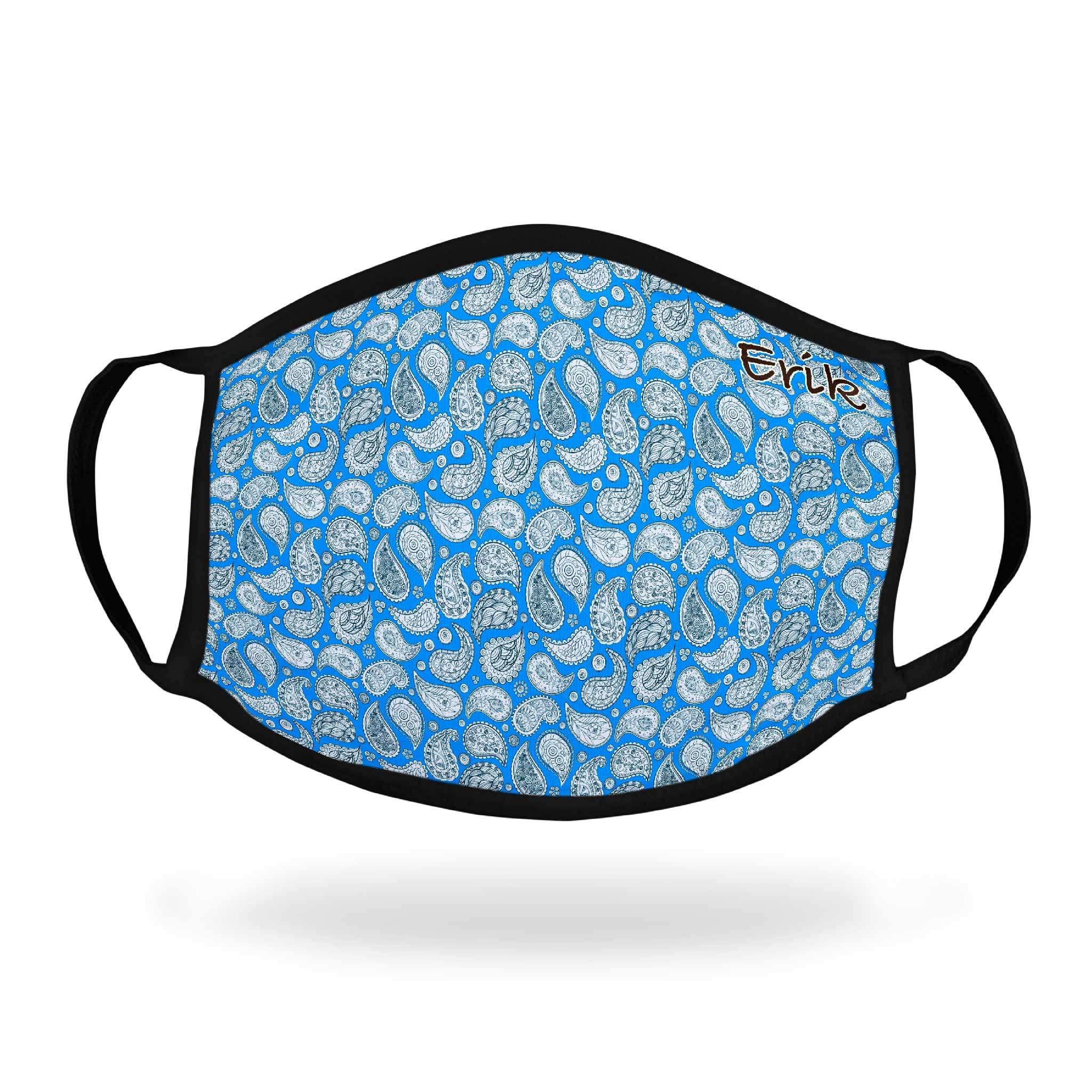 Tøymunnbind med motiv Paisley Blå