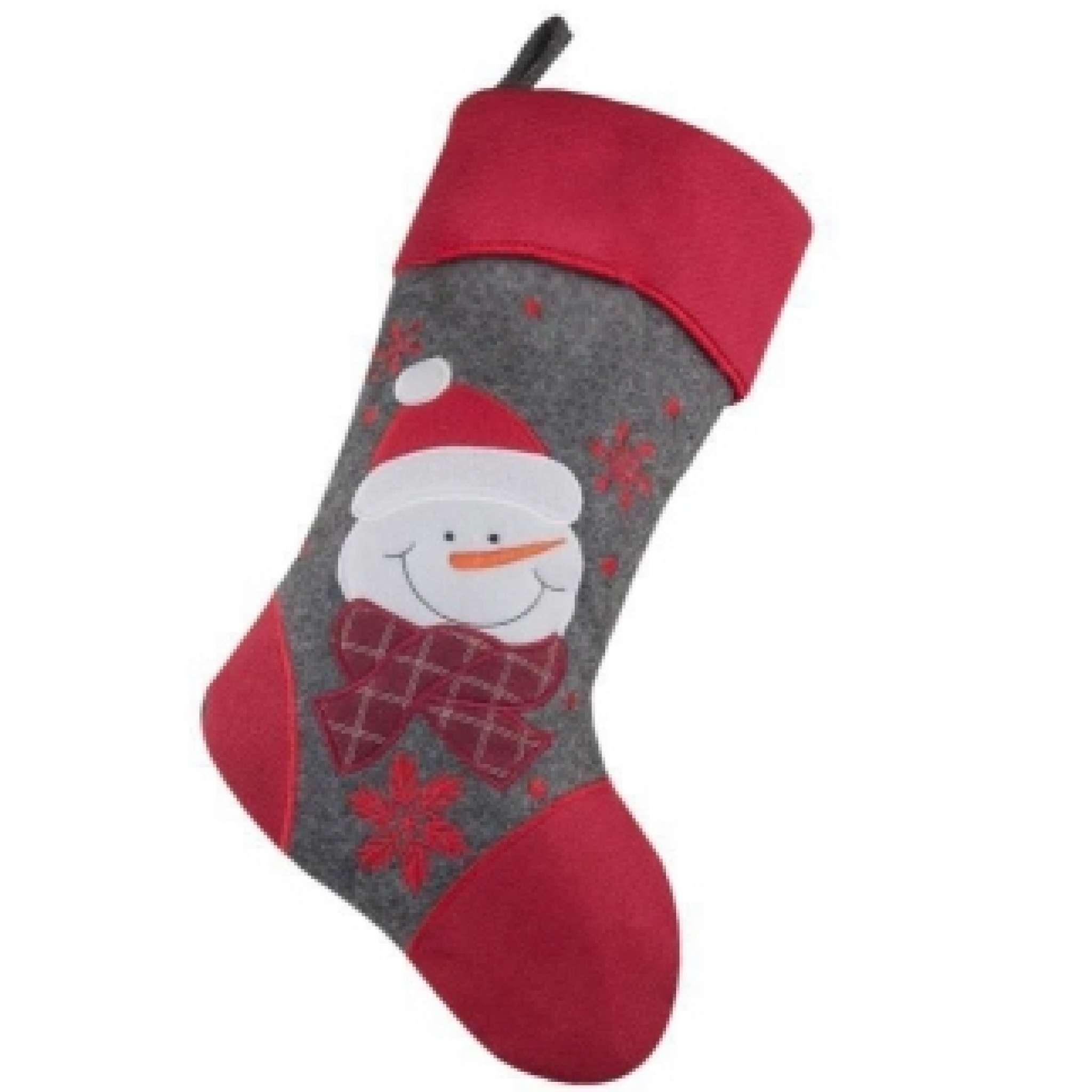 Julestrømpe Premium, Snømann, rød tå