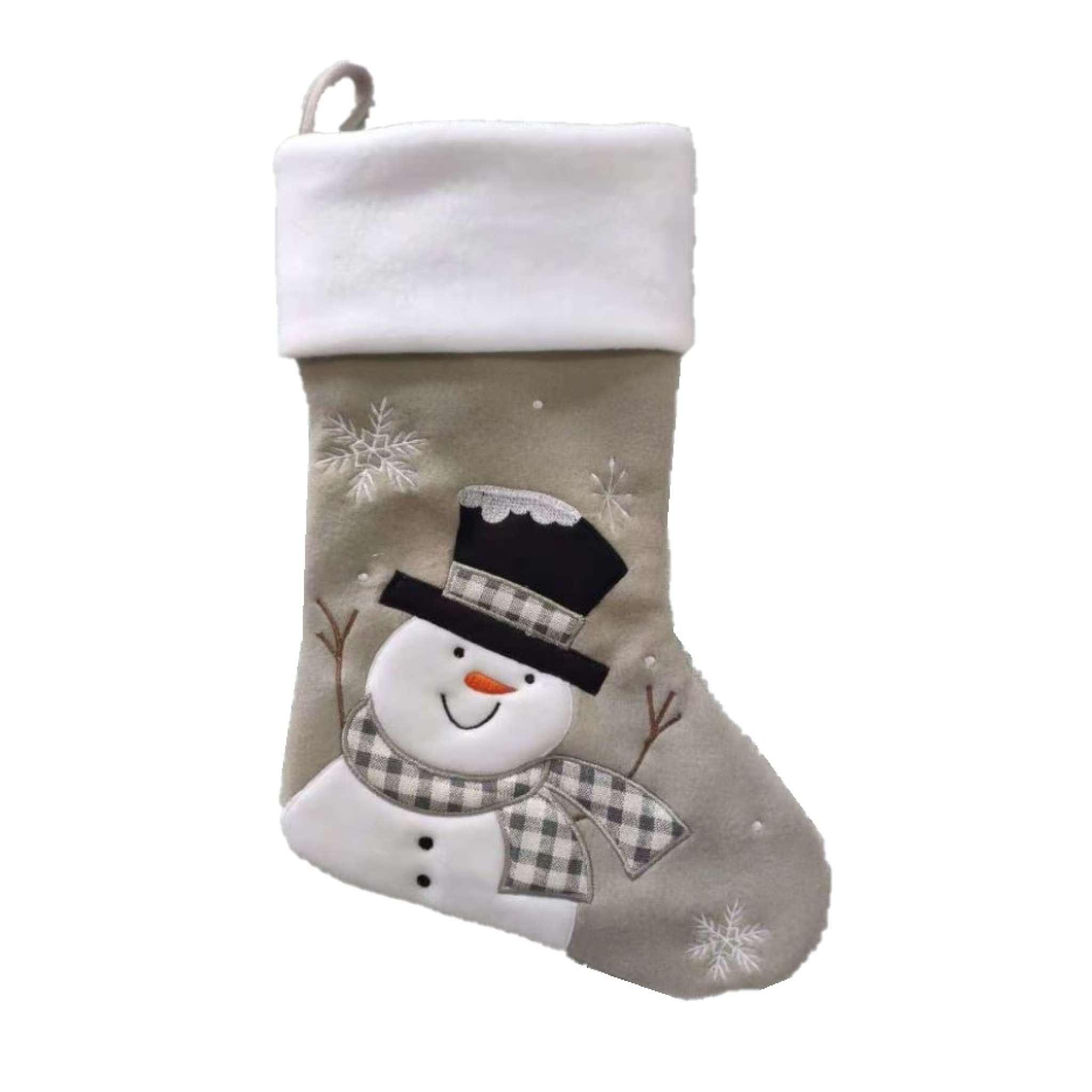 Julestrømpe Premium, Snømann, Hvit