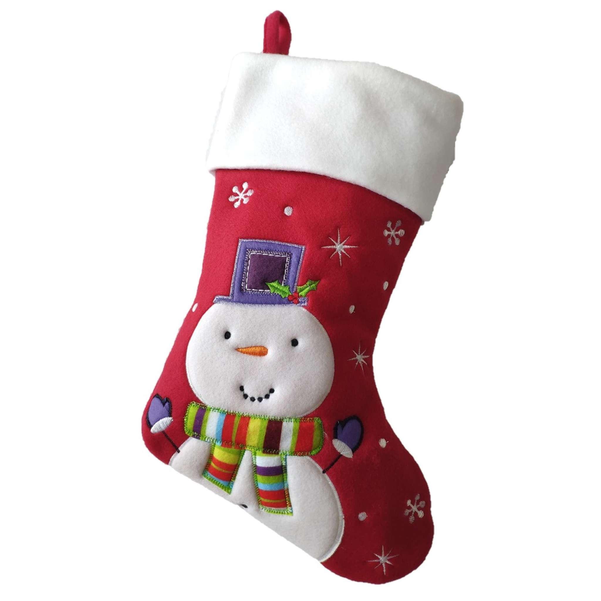 Julestrømpe Premium, Snømann lilla hatt