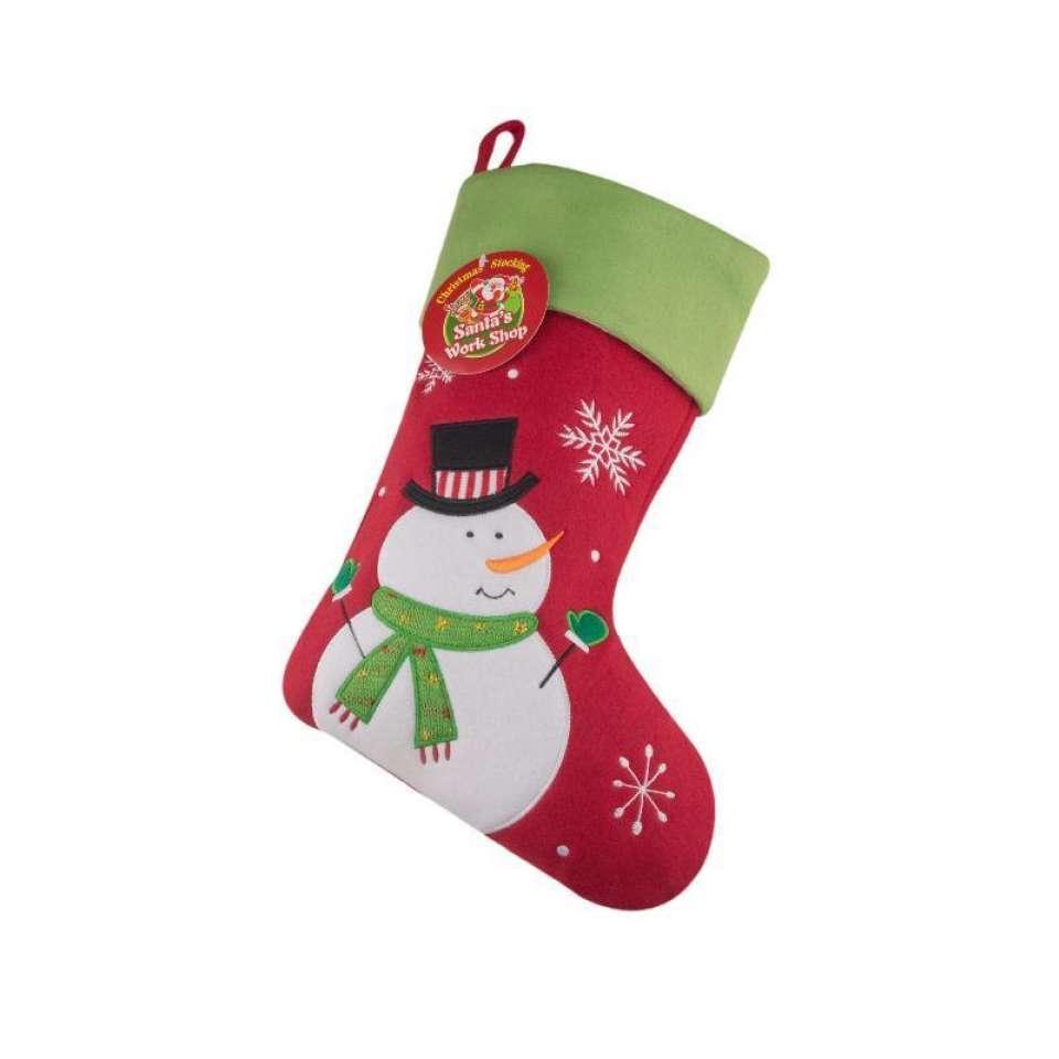 Julestrømpe Premium, Snømann rød/grønn