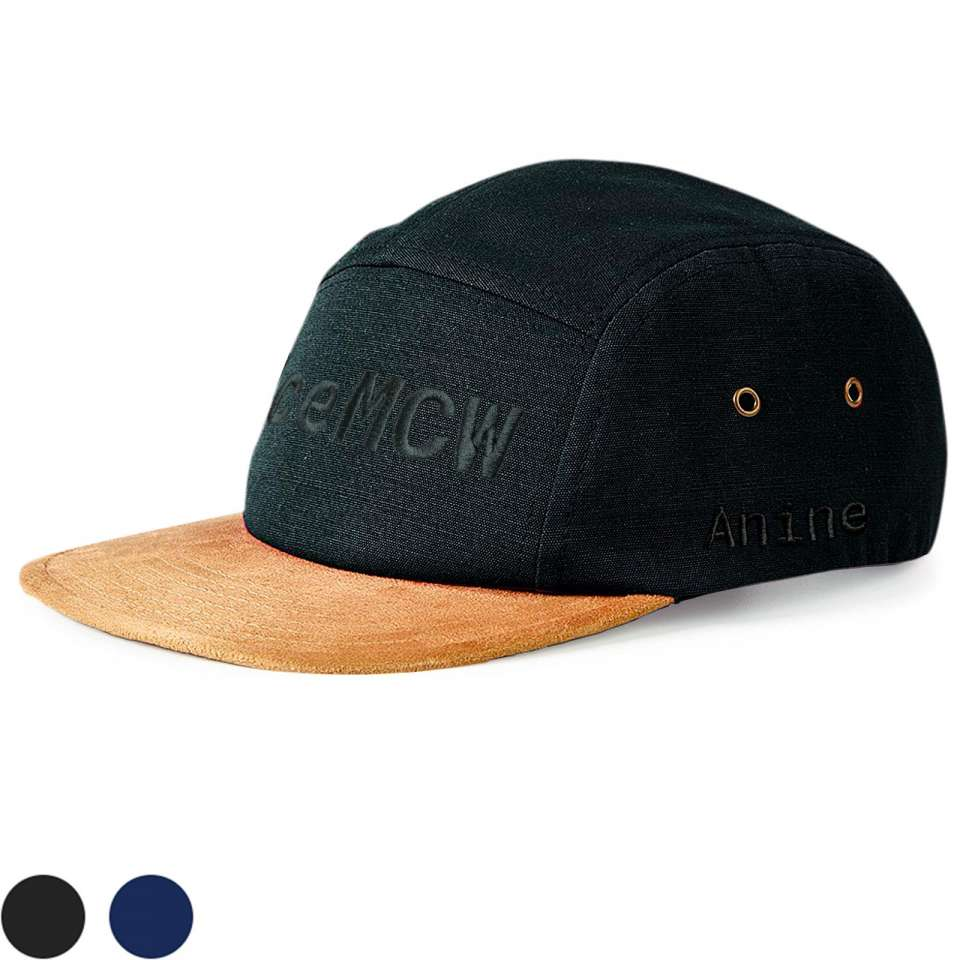 5-panel Suede Camp Caps med stor brodering