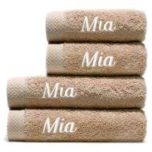 Himmelsk deilige og luksuriøst myke håndklær. Takket være bomullens absorberende natur, tørker de på kort tid. Dette er et sett med 2 mellomstore håndklær og 2 badehåndklær så du alltid har et for hånden.  2 badehåndklær 70x140 cm og 2 håndklær 50x100 cm